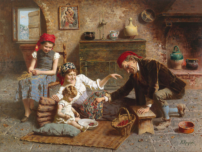 Eugenio Zampighi, The Happy Family (Source: spanierman.com)